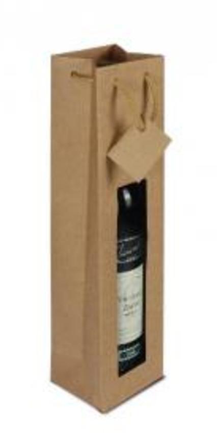 Papírová taška s okýnkem (1 láhev)