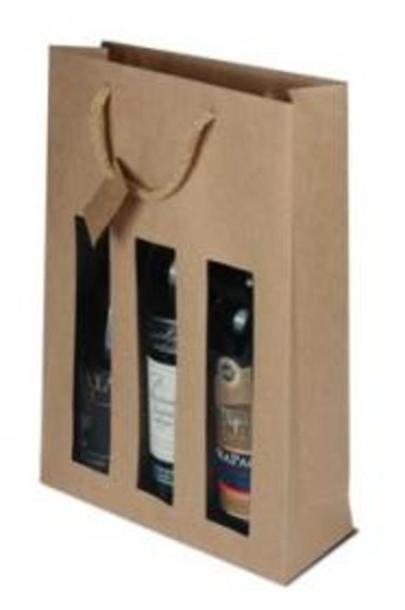 Papírová taška s okýnkem (3 láhve)