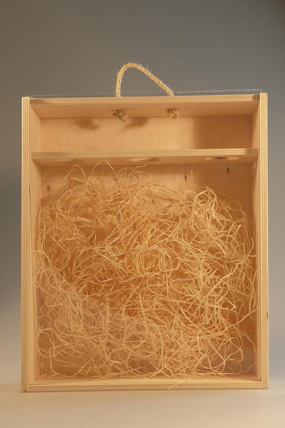 Dřevěná krabice s plexisklem 3 láhve