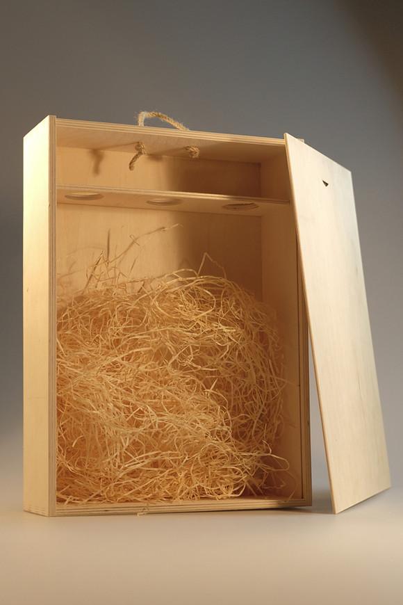 Dřevěná krabice na 3 vína s plným víkem