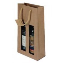 Papírová taška s okýnkem (2 láhve)